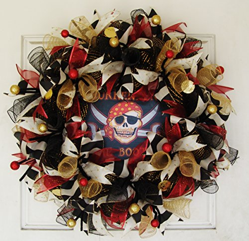Dread Pirate Roberts Costumes (Surrender the Booty Pirate Skull Skeleton Deco Mesh Front Door Wreath, Party Decoration, Halloween Prop Decor, Porch Patio Outdoor Wall Gift)