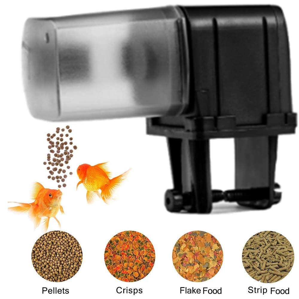 LILUN6 WiFi Automatic Feeder Fish - Rechargeable Black, with USB Charger Cable, Large Capacity can be timed, Suitable for Home Office Aquarium, Black by LILUN6