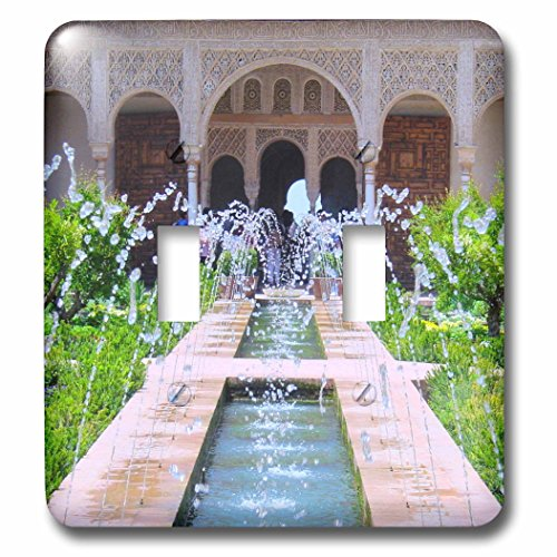 3dRose LLC 3dRose LLC lsp_112956_2 Water Fountains at Alhambra palace gardens in Grenada Spain - Islamic Turkish Muslim fretwork arches - Double Toggle Switch by 3dRose