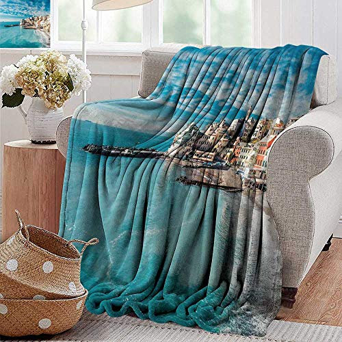 PearlRolan Wearable Blanket,Italy,Panorama of Old Italian Fishing Village Beach in Old Province Coastal Charm Image,Turquoise,Lightweight Microfiber,All Season for Couch or Bed 50