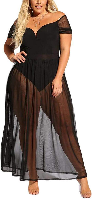 Frauen Plus Size Off Schulter Party Bodysuit Kleid mit Schiere Mesh-Rock