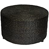 Oriental Furniture Rustic Foot Stool, 30-Inch Woven Water Hyacinth Rattan Style Round Ottoman Coffee Table Platform, Black
