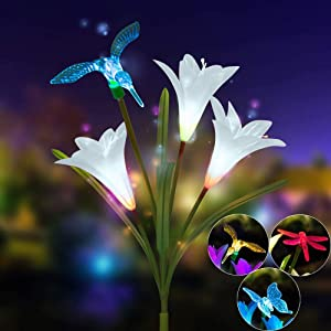 Efaster 2 Pack Solar Lights Outdoor - Solar Garden Lights,Lily Flower Solar Light with Artificial Butterfly/Bird/Dragonfly,Color Changing LED Solar Stake Lights for Garden/Patio/Path/Backyard (White)