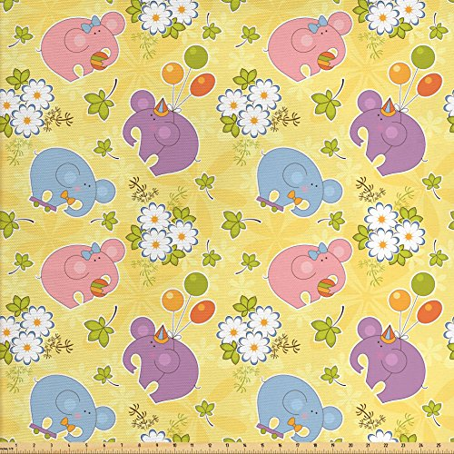 Ambesonne Elephant Fabric by the Yard, Blossoming Cartoon Flowers and Animal Mascots Balloons Bow Ties Playful Clip Art, Decorative Fabric for Upholstery and Home Accents, Multicolor