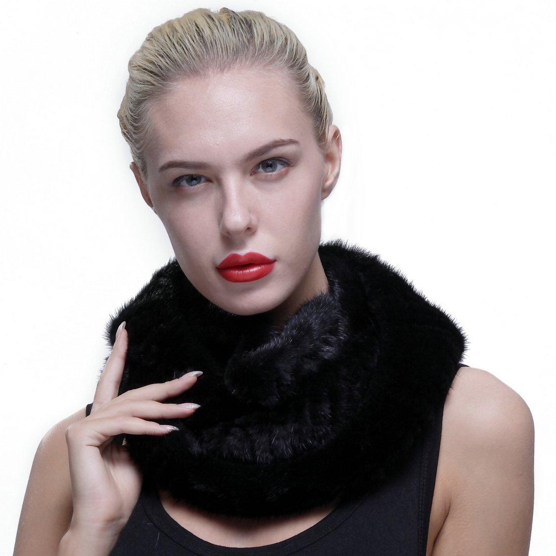 URSFUR Authentic Knit Mink Fur Infinity Hood Scarf Black