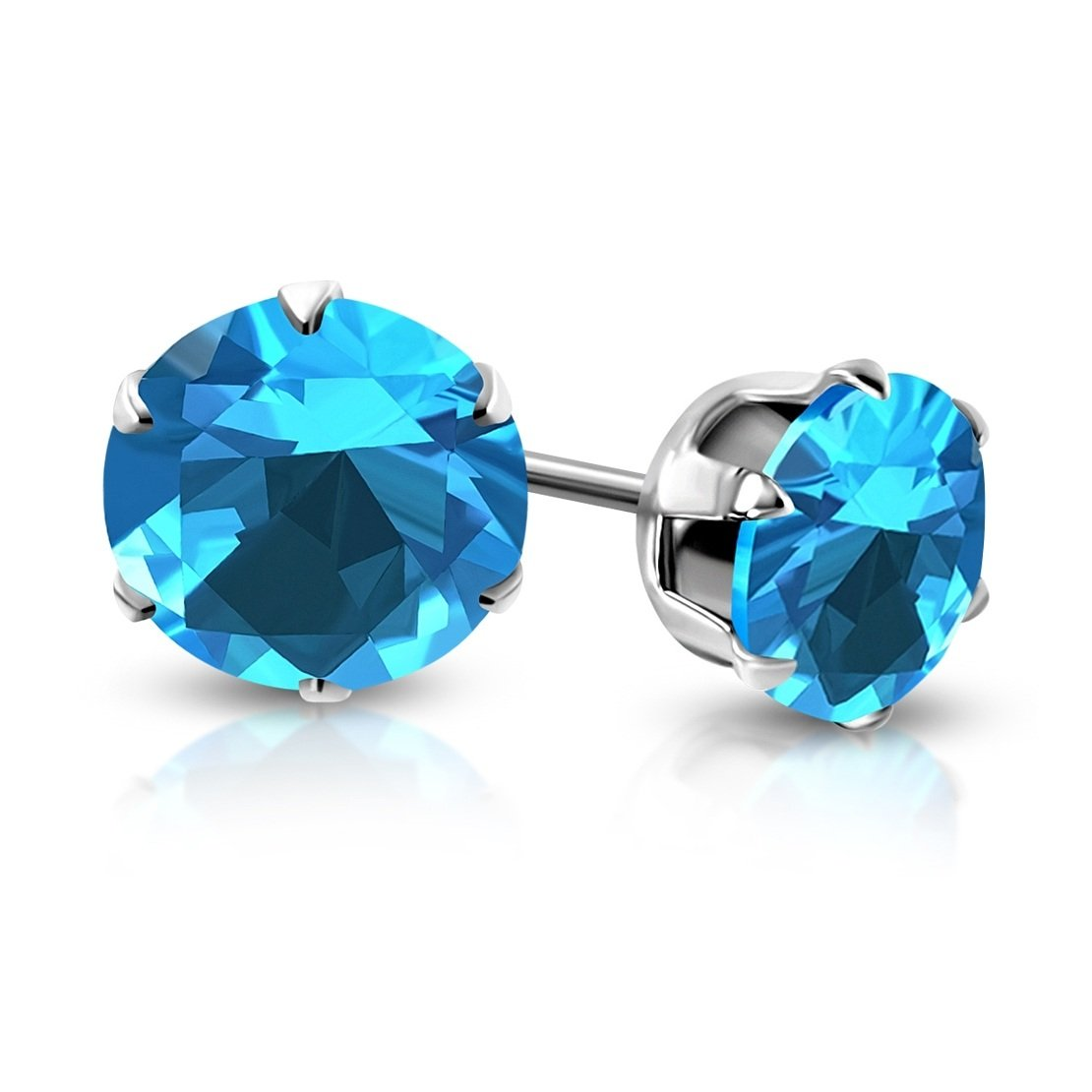 pair Stainless Steel Prong-Set Round Circle Stud Earrings with Sky Blue// AquamarineCZ
