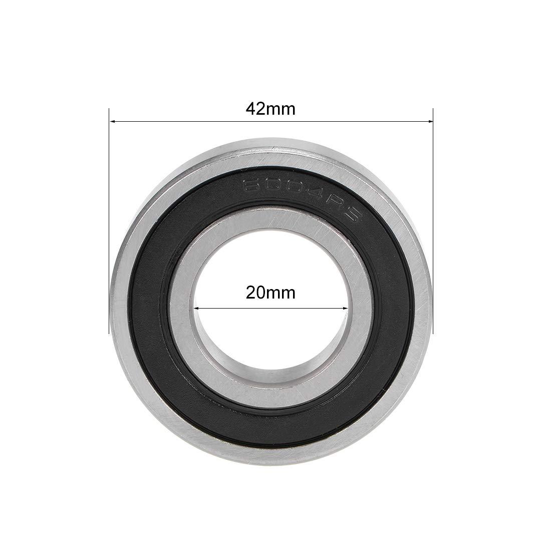 sourcing map 6004-2RS R/ígidos Rodamientos Bolas 20 mm X 42 mm Z2 x 12 mm 2pcs Blindaje Doble Acero Carbono