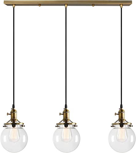 Permo Vintage Rustic Industrial 3-Lights Kitchen Island Chandelier Triple 3 Heads Pendant Hanging Ceiling Lighting Fixture with Mini 5.9 Round Clear Glass Globe Shade Antique