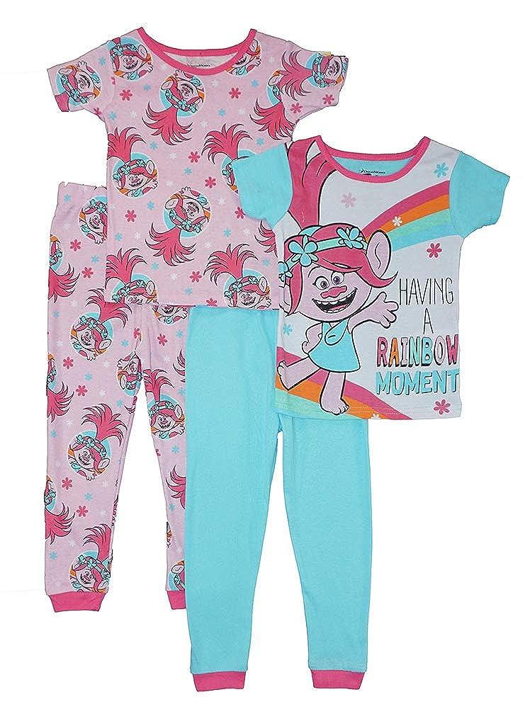 Trolls Girls Rainbow Moment Four-Piece Cotton Pajama Set
