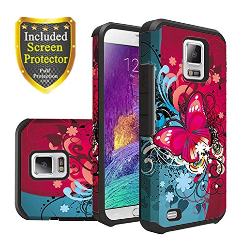 ote 4 Case, Rubber Heavy Duty Protective Sturdy Durable Shockproof Dual Layer + [ Tempered Glass ] (Red Flower) ()