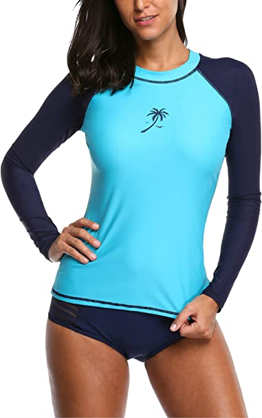 Charmo Damen Rashguard Langarm UV Shirt Badeshirt Bademode Tankini Oberteil UPF50