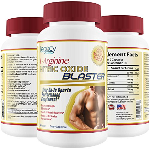 #1 BEST NITRIC OXIDE SUPPLEMENT - L Arginine NO Booster Complex Capsules for Men - Powerful Combination of Amino Acids To Gain Strength, Stamina, Energy, Build Muscle & Increase Power - Guaranteed