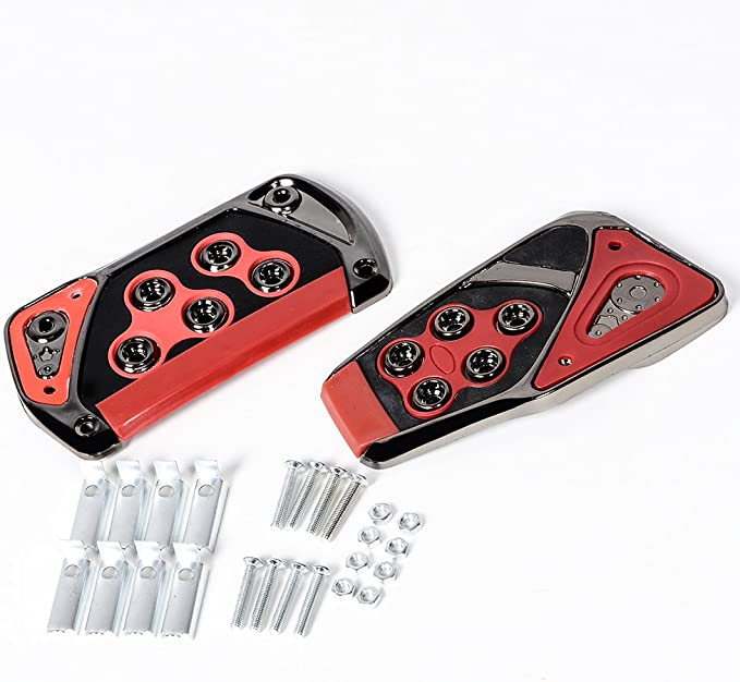 Chrome and Black HDE 2 Piece Non Slip Pedal Kit Gas Brake Cover Pads for Automatic Transmission Vehicles