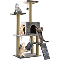 Cat Tree Tower with Scratching Post Plush Perch and Tunnel, Kitten Cat Condo House Furniture 55in (light grey)