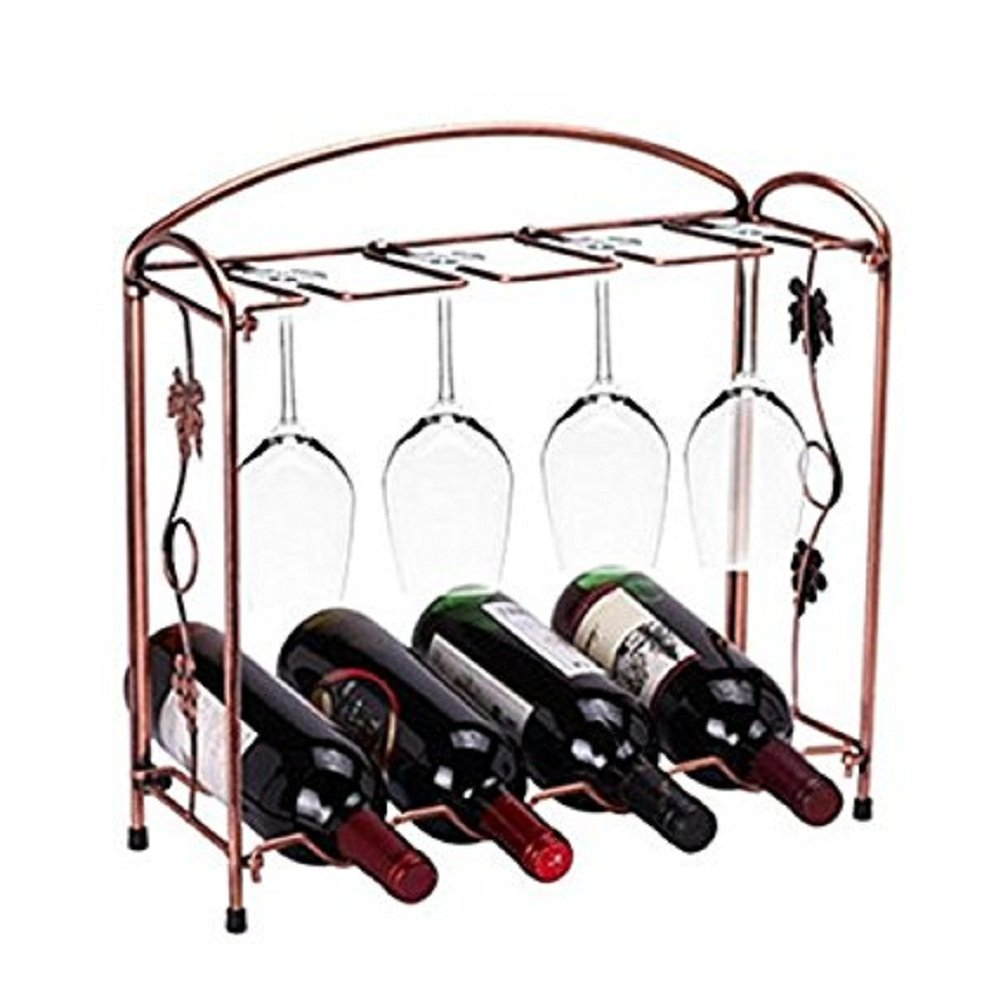 Miniway 4 Wine Bottles / 8 Wine Glasses Countertop Bronze Stainless Steel Tabletop Wine Glass Drying Folding Rack Stand Gift