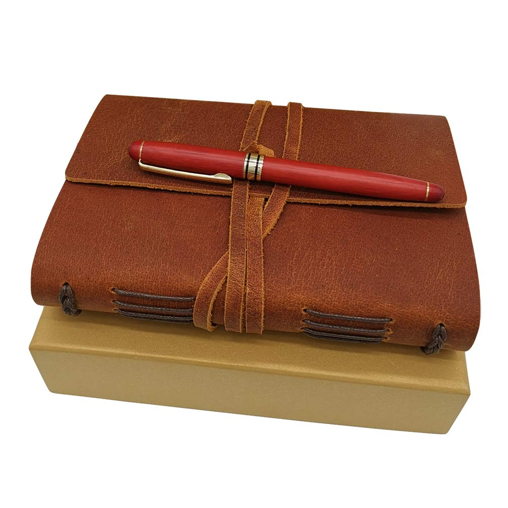 Leather Journal with Luxury Pen - Genuine Leather Bound Notebook Daily for Men and Women - Lined Paper 240 Kraft Pages, Handmade, Light Brown, 5 x 7 inches