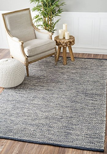 Hand Woven Casual Solid Cotton Area Rug - Casual Striped Rug