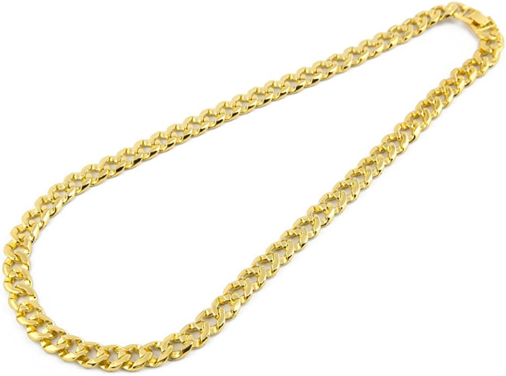ZODRQ Necklace,Crystal Gold Finish Miami Cuban Link Chain Men Hip hop Necklace Jewelry,Valentines Day Gifts