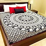 Exclusive 100% Cotton Mandala Tapestry WITH TWO PILLOW COVERS, Indian Mandala Wall Art, Hippie Wall Hanging, Bohemian Bedspread