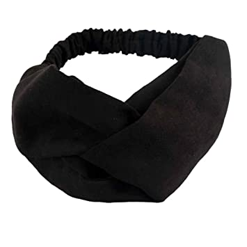 Amazon.com   Women Cross Suede Headband Spring Solid Bohemian Vintage  Stretch Twisted Turban Hairband Hair Accessories Black   Beauty 88d08021d70
