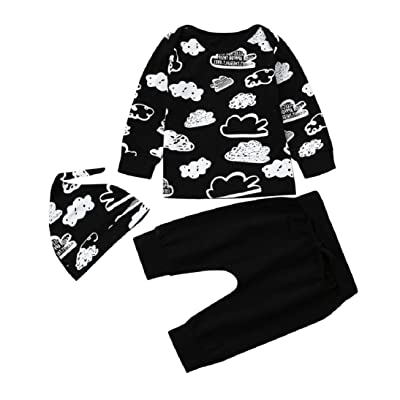 c4287c49b Gallity Infant Baby Girl Boy Little Clouds Graffiti 3Piece/Set Clothes T  Shirt Tops Pants