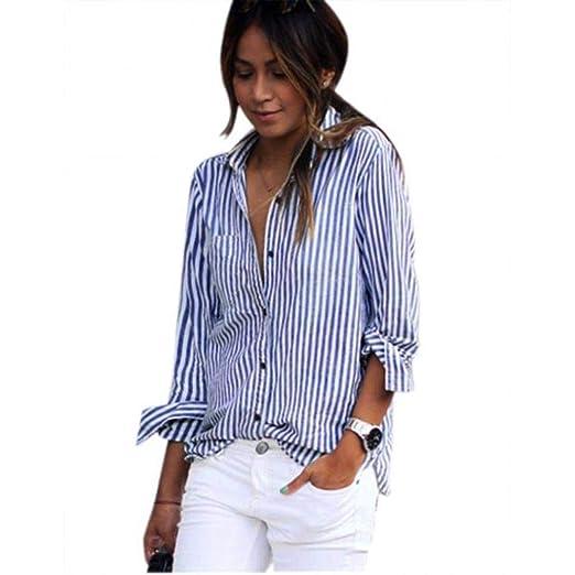b7dfd646f19 iDWZA Women's Fashion Casual Striped Long Sleeve Button Down T Shirt Blouse  Tops at Amazon Women's Clothing store: