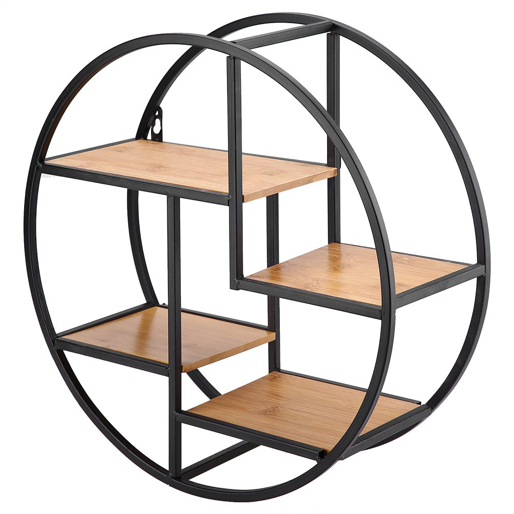 GOTOTOP Wall Mounted Metal Floating Shelf Black Round Display Unit With Shelves Art Bookshelf