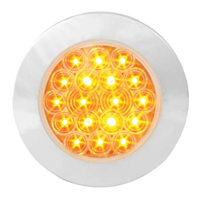 "GG Grand General 75871 Amber/Clear LED Light (4"" Fleet 18 Flange Mount with Bezel, 3 Prong): Automotive"