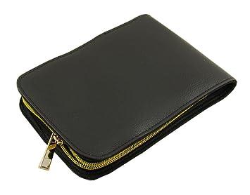 Estuche para 12 bolígrafos o plumas, piel sintética, cremallera dorada, color negro