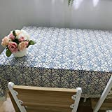 "NOMSOCR Classic Cotton Linen Tablecloth Dust-Proof & Spillproof Table Cover for Kitchen Dinning, Machine Washable (55.1""x98.4"")"