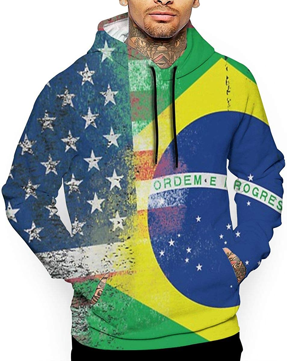 American and Brazilian Flags T-Shirt Hooded with A Pocket Rope Hat Customization Fashion Novelty 3D Mens