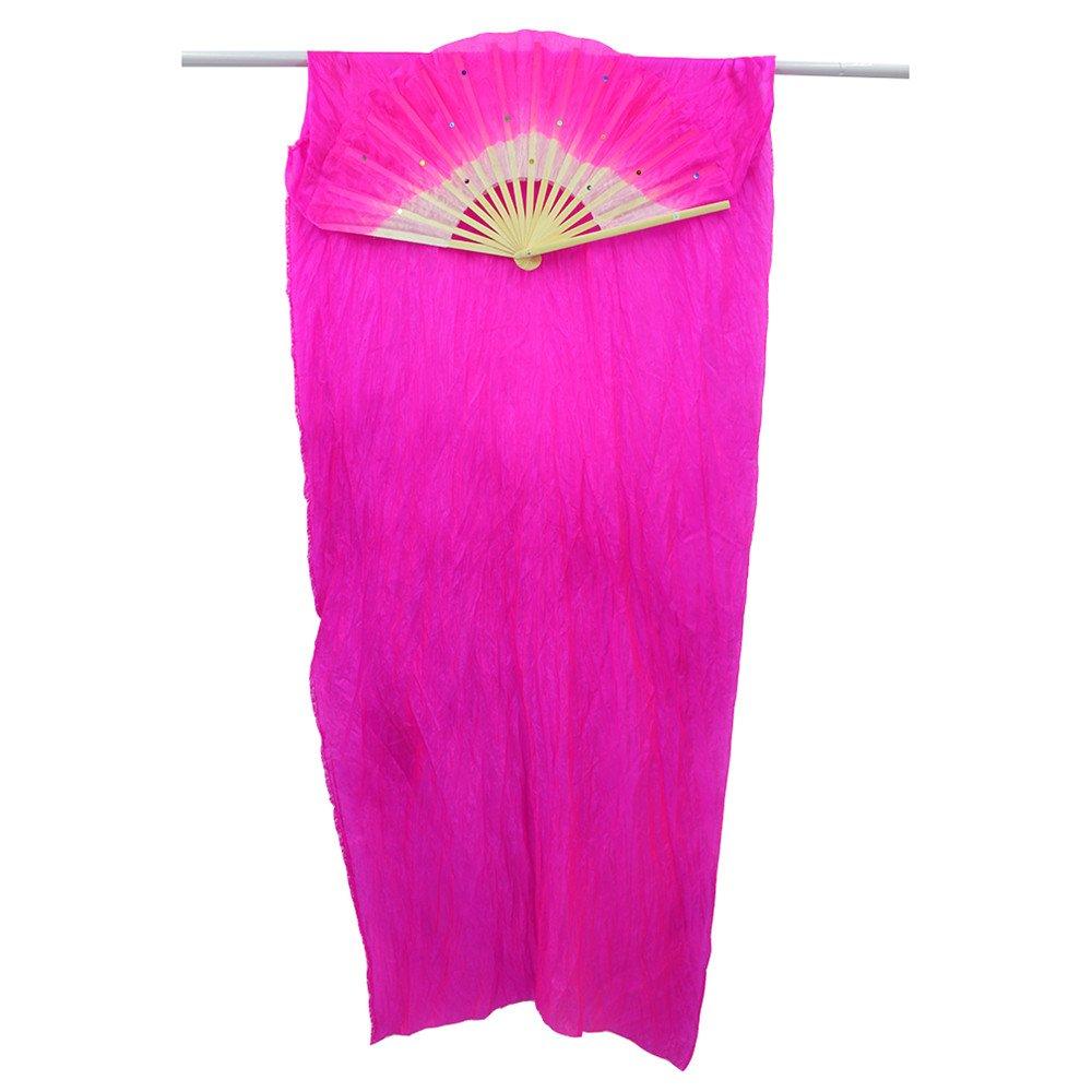 WEISIPU 1 Pair 1.8m Raks Sharki Belly Dancing Silk Fans Chinese Hand Made Bamboo Veils Long Fans(Rose Red)