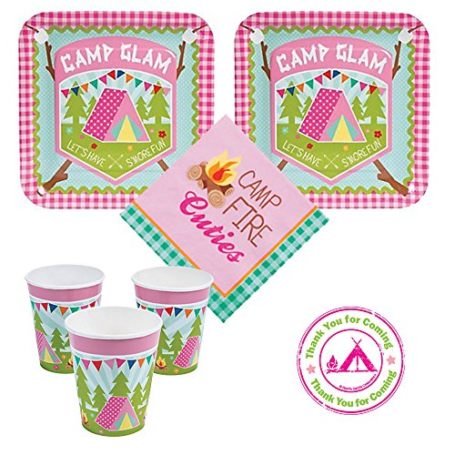 Camp Glam Camping Birthday Party Pack, 16 guests, dinner plates, napkins, cups plus bonus labels