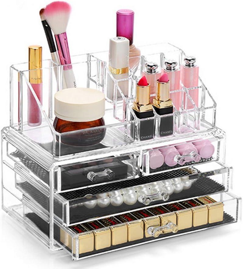 Display4top Organisateur Maquillage Acrylique Boîte à Bijoux Transparent Rangement de Maquillage Pinceaux 4 Tiers Tiroirs (Clear)