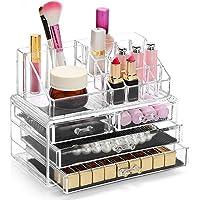 Display4top Jewellery Storage Box Acrylic Cosmetics Lipsticks Make Up Organiser Holder Box (4 Drawers Clear C)