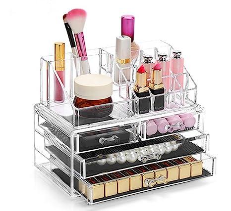 b745499bc Display4top Caja acrílica Estante de maquillajes Maquillaje Cosméticos  Joyería Organizador (4 Drawers Clear C)