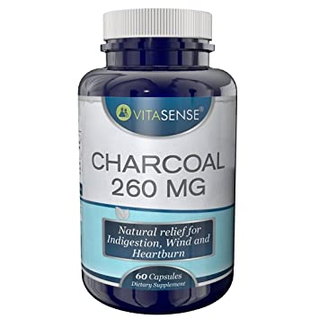 VitaSense Charcoal 260 mg - Natural relief for indigestion, wind and heartburn - 60 capsules
