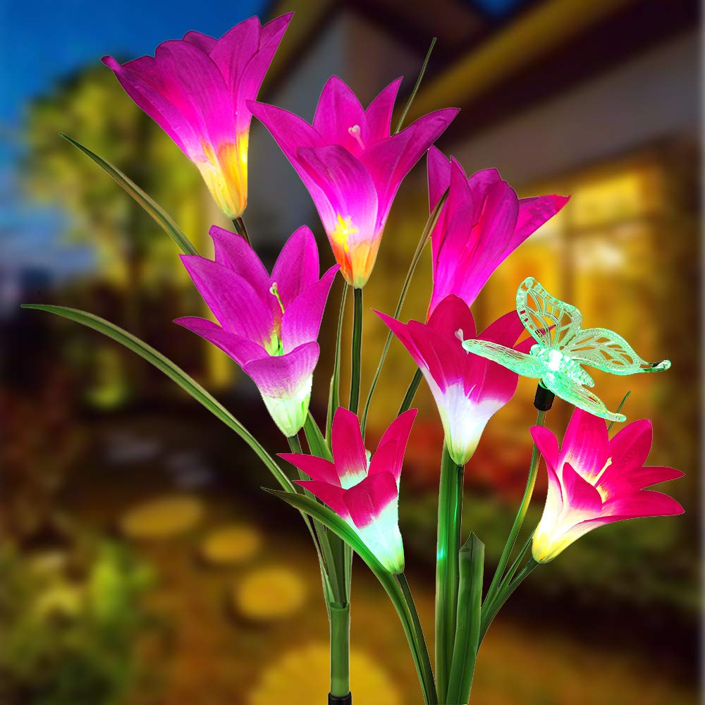 Solar Flower Lights, Solar Lights Outdoor Garden Decorative with 7 Lily Flower 1 Butterfly for Yard Patio Lawn Garden Decorations (Purple + Red)