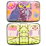HappyDaily 2 Pack RFID Blocking Credit Card Protector Theft Proof Credit Card Holder, Convenient Travel Wallet Cases for All Your ID Card, Bank Card,Business Card (Pink OWL)
