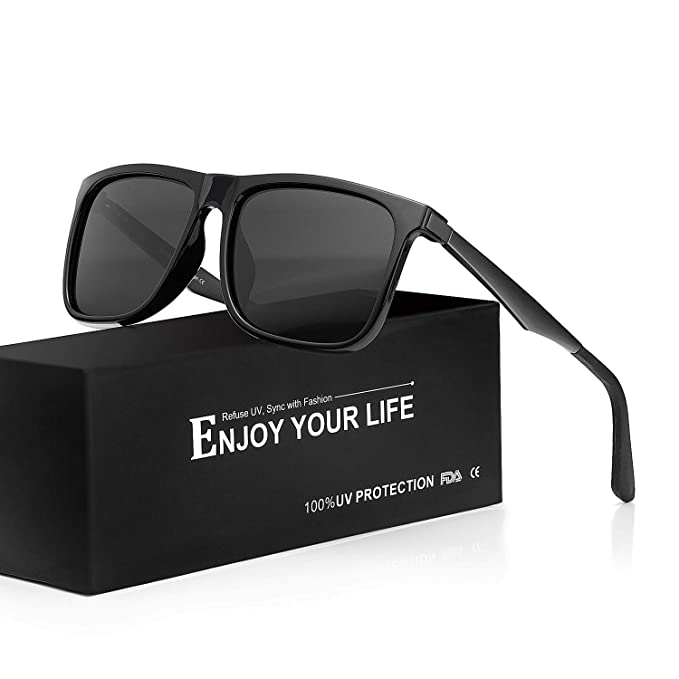 TJUTR Espejo Gafas De Sol Hombre Wayfarer Polarizadas 100% Protección UVA UVB para Conducir Viajes