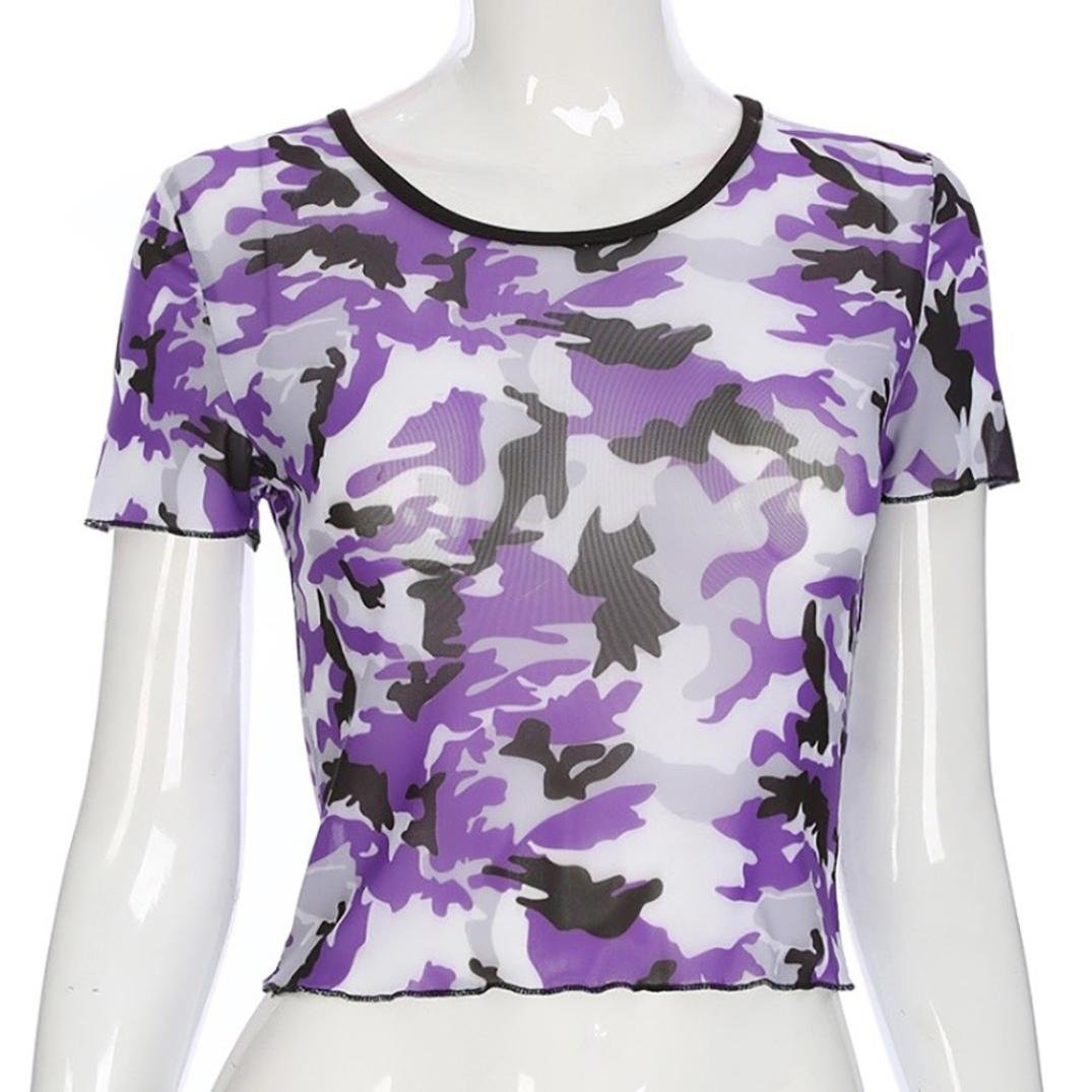 FENZL Women Camouflage Print Short Sleeve Crop Tops O-neck Pullover T-Shirt Blouse (XL, Purple) by FENZL (Image #5)