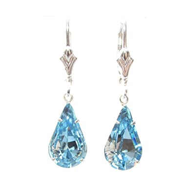 Sterling Silver lever back earrings expertly made with teardrop Aquamarine Blue crystal from SWAROVSKI®. London box. 9LOUO9ok