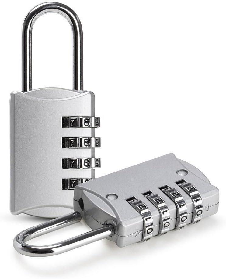 SODIAL 2 piezas de Candado de 4 digitos Codigo de seguridad Antirrobo de aleacion de zinc perfecto para armario, Estuche de viaje Etc. - Plata