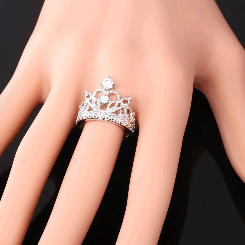 Size 6 to 11 U7 18K Gold Plated Cubic Zirconia Princess Crown Ring