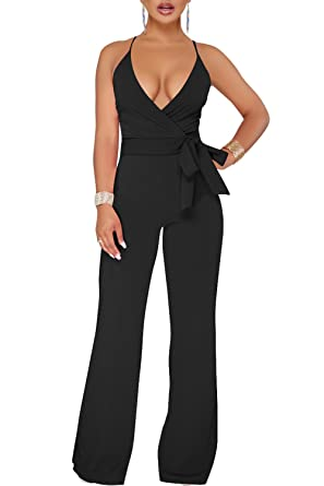 f5ce02b3a25 Amazon.com  Geckatte Womens Wide Leg Jumpsuits Sexy Halter V Neck  Sleeveless Wrap Wasitband Jumpsuit Rompers  Clothing