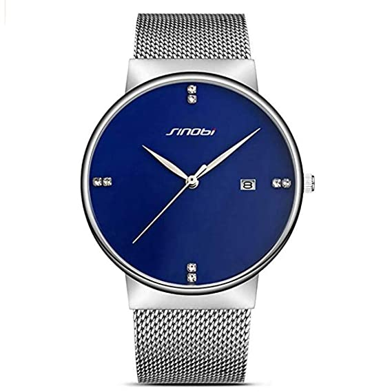 SINOBI Men Women Simple Wristwatch Ultra Thin Case Mesh Watchband Minimalism Man Watches reloj de pulsera