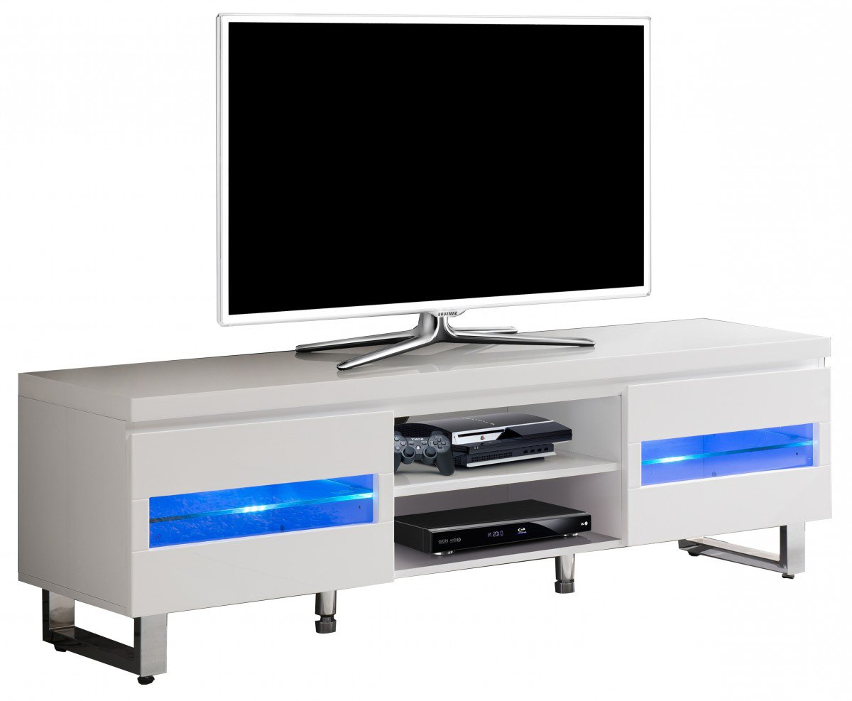 Meuble Tv Blanc Laqu Led Int Gr Et Pied Chrom Amazon Fr  # Meuble Tv Integre Electrique