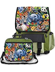 Kidaroo Jungle Babies Backpack & Lunchbox for Girls, Boys, Kids