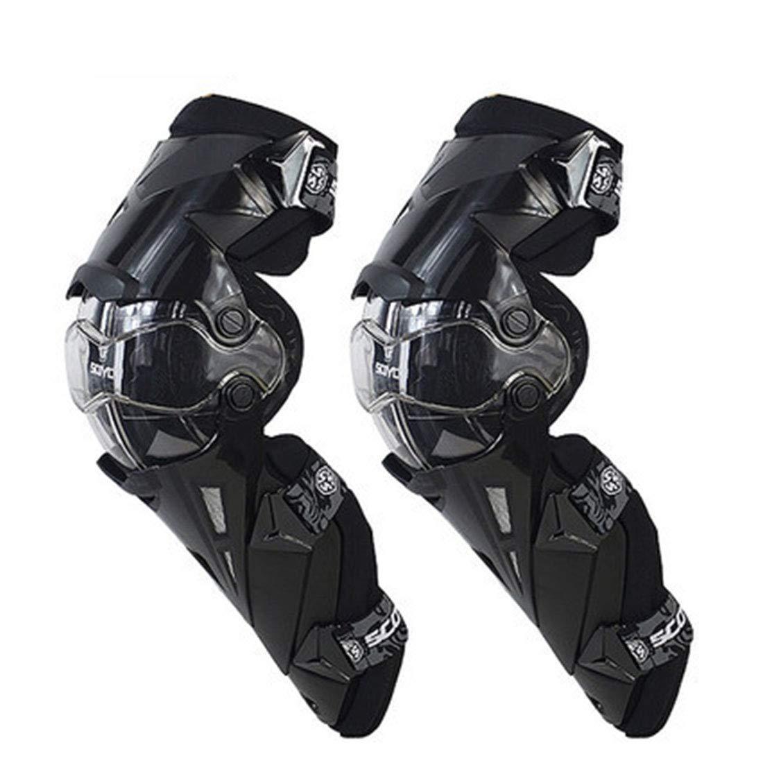 CAFUTY 快適な膝パッド調節可能な長い脚スリーブギアクラッシュ防止滑り止め保護新ガード衝突回避膝スリーブオートバイマウンテンバイク (Color : ブラック)  ブラック B07P1Y57ZN
