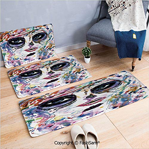 FashSam 3 Piece Non Slip Flannel Door Mat Halloween Girl with Sugar Skull Makeup Watercolor Painting Style Creepy Decorative Indoor Carpet for Bath Kitchen(W15.7xL23.6 by W19.6xL31.5 by W31.4xL47.2) ()